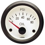 OIL PSI GAUGE, 0-80, WHITE